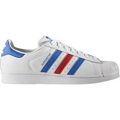 Adidas Originals Superstar Sneakers (1.480 UYU) ❤ liked on Polyvore featuring shoes, sneakers, blue, white, zapatos, adidas originals trainers, white trainers, stripe shoes, adidas originals and striped shoes