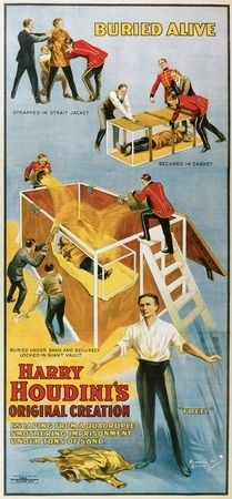 A Harry Houdini promotional poster. Watch him performing his escapes on BeAmazed.tv