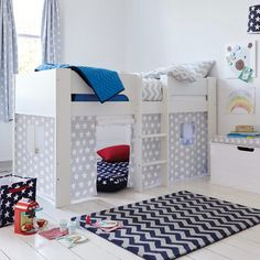 Paddington Mid Sleeper Bed with Grey Star Play Den - All Children's Beds - Beds