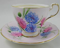 Paragon Pale Pink Tea Cup and Saucer with Pink and Blue Flowers, Vintage Tea Cup, Bone China
