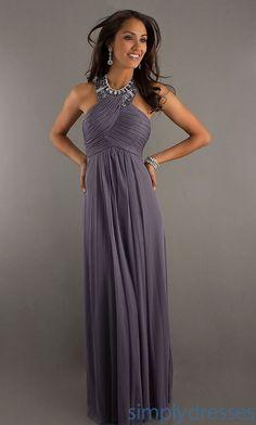 Grey Sheath Column Empire Long Floor-length Chiffon Evening Dresses With  Crystal 92f05797d0ca