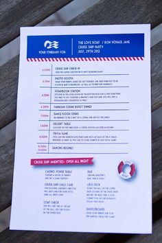 Party itinerary for a Cruise Ship Party, Miss Party Mom