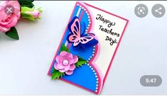 Handmade Teachers Day Cards, Greeting Cards For Teachers, Teacher Thank You Cards, Greeting Cards Handmade, Simple Birthday Cards, Handmade Birthday Cards, Origami Birthday Card, Teacher Appreciation Cards, Welcome Card