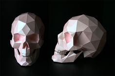 Human Pink Skull Papercaft by paartisan Skull Template, Templates Printable Free, Paper Templates, Skull Sketch, 3d Printer Designs, Origami, Pink Skull, Paper Animals, 3d Paper Crafts