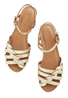 Come Out and Plait Sandal in Gold. When you put on these gold sandals by Bass you're ready to skip out into the sunshine and down the sidewalk with your friends! #gold #modcloth