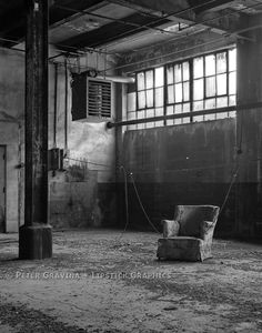 Arm Chair in Abandoned Factory : Black & White Industrial Landscape Photograph by Peter Gravina. $35.00, via Etsy.
