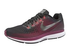 sports shoes 9a563 10594 NIKE Women s Air Zoom Pegasus 34 Running Shoe (Gem) Shadow Brown Metallic  Pewter Rush Maroon (9.5)