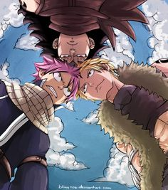 Natsu Dragneel (Fairy Tail Guild), Gajeel Redfox (Fairy Tail Guild), and Sting (Sabertooth Guild). :) Three of the six Dragon Slayers! Natsu and Gajeel being first generation Dragon Slayers, Sting a third generation Dragon Slayer. :) Fairy Tail!