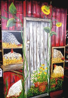 Chicken coops not only help provide a comfortable environment for your fowl but also provide shelter and a happy place for your chickens to be productive. A good chicken coop always starts with proper planning and the better you can d Chicken Coop Decor, Chicken Coop Signs, Chicken Crafts, Chicken Art, Building A Chicken Coop, Chicken Coops, Garden Mural, Chicken Painting, Door Murals