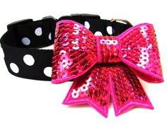 """1"""" Black and White Polka Dot Dog Collar with Bow   Wagologie, $20.00"""