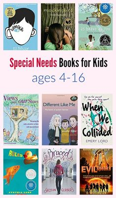 Special Needs Books for Kids ages Please welcome my guest author today, Sandra Woffington, with a special needs book list. Sandra is a middle school teacher who is passionate about teaching her students not to just tolerate those with differences – b Middle School Books, Middle School Teachers, Book Suggestions, Book Recommendations, Good Books, My Books, Special Needs Mom, Library Books, Free Library