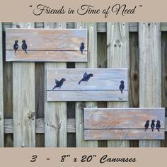 """Bird Painting - Three Piece canvas art """"Friends in Time of Need"""" Possible Paintings-check"""