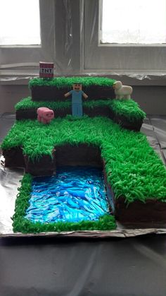My sons vegan Minecraft cake
