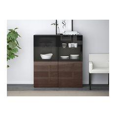 BESTÅ Storage combination w/glass doors - black-brown/Selsviken high gloss/brown clear glass, drawer runner, soft-closing - IKEA