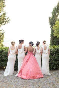 Bride in Coral Oscar de la Renta Wedding Dress | Miu Miu Shoes | Ghost White Bridesmaid Dresses | Borgo di Castelvecchio Tuscany Wedding Venue | Fiona Kelly Photography | http://www.rockmywedding.co.uk/som-jonny/