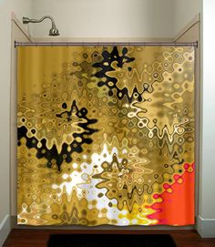 Abstract Red Gold Shower Curtain Bathroom Decor By TablishedWorks 6500