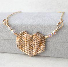 Beaded Large Heart Pendant Necklace Bohemian Gold Heart by LiBeadi