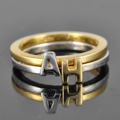 gold initial ring alphabet ring letter ring by JubileJewel on Etsy