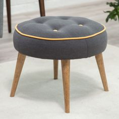 With its contrasting piping and button detail, the Belham Living Milo Mid-Century Modern Ottoman adds color and interest to any space. This ottoman. Room Furniture Design, Retro Furniture, Furniture Projects, Mid Century Modern Decor, Mid Century Design, Mid-century Interior, Interior Ideas, 1950s Design, Modern Ottoman