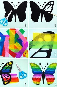 vlinder van zwart karton en crêpepapier. geeft een leuk glas in lood effect.