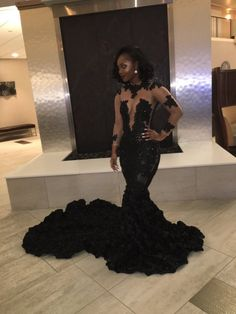 Sexy See Through Mermaid Prom Dresses Long Sleeves Rose Flowers Lace Appliques Beaded Party Gowns For Black Girls High Neck Evening Dress 2019 Black Girl Prom Dresses, African Prom Dresses, Cute Prom Dresses, Prom Dresses Long With Sleeves, Prom Outfits, Prom Dresses With Sleeves, Mermaid Prom Dresses, Dress Prom, Long Dresses
