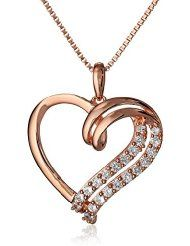"Sterling Silver with Rose-Gold Plating Created White Sapphire Heart Pendant Necklace, 18"" $56.08 Visit: www.jewelryandwatches.co.za"