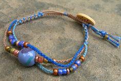 Blue Splash macrame bracelet with Kazuri focal bead, by BlueQuailDesign; $23.00 #handmade #jewelry