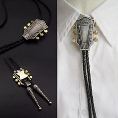 Letter K Initial Black and White Scrolls Western Southwest Cowboy Necktie Bow Bolo Tie
