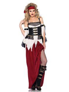 Déguisement pirate femme : Ce déguisement de pirate pour femme se compose d'une robe, de manchons et d'un foulard (collants et bottes non inclus).Le haut de la robe est dans les tons beiges. Il est...