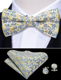 New Men/'s Pre-tied Bow Tie /& Pocket Square Hankie set zebra tan black formal