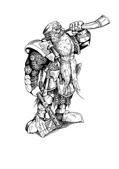 dwarven warrior sketch 2 by Hollewetzer