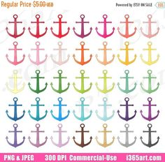 50% OFF Sale Anchor Clipart, Anchor Clip Art, Beach Ocean, Nautical, Navy Sailor Digital, Planner Sticker Graphic Icons, PNG, Commercial by I365Art