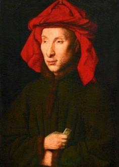 Jan van Eyck (c. 1390-1441), Portrait of Giovanni Arnolfini, c. 1435, oil on oak, 29 x 20cm. Bildnisn eines Mannes, vermutlich von Giovanni Arnolfini Portret van Giovanni Arnolfini Gemäldegalerie, Berlin
