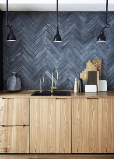 How to create a modern timber kitchen in a small space Kitchen: New door fronts and benchtops in elm contrast with a splashback in 'Stix' tiles in Storm from Marokk. The 'Tara Classic' mixer and water dispenser in a brushed-brass finish are from Dornbrach Timber Kitchen, Kitchen Doors, Wooden Benchtop Kitchen, Dark Grey Kitchen, Floors Kitchen, Kitchen Lamps, Kitchen Sinks, Kitchen Lighting, Kitchen Cabinets
