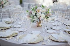 Romantic wedding at Greystone Mansion : Chriselle + Allen - Gold and pink centerpieces.