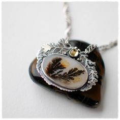 sterling citrine dendritic agate forest necklace by 6shadowsjewelry on etsy