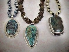 Hand fabricated necklace with various types of turquoise stones. All bezel set in sterling silver