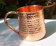 Hammered Moscow Mule Mug / Cup 16 Oz., Hammered Pipe Handle Mug. #VisvabhannahMart