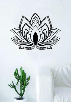 Lotus Flower V5 Design Decal Sticker Wall Vinyl Decor Art Namste Om Yoga Mandala Buddha - purple