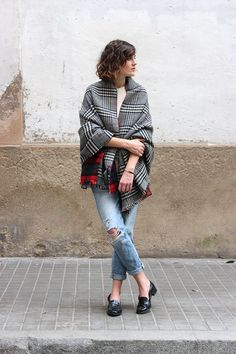 Via Mango and Salt: as they say, it's not time for a coat yet. Try a scarf or classic poncho instead.