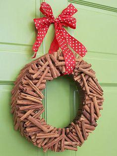Cinnamon Stick Christmas wreath from bhg.com