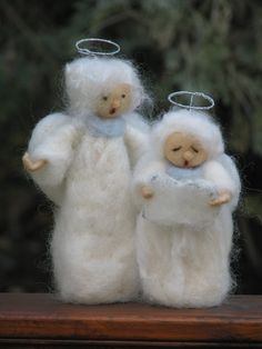 Two singing Christmas angels needle felted home by Zuzana Hochman of Made4uByMagic on Etsy: