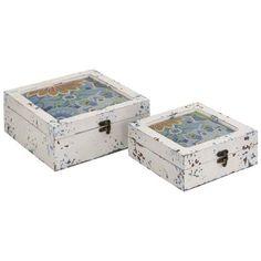 Benzara Antique Styled Multicolored Wood Box set of 2