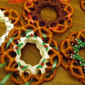 Chocolate pretzel wreaths