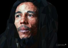 Bob Marley, digital art, low poly in adobe illustrator cchttps://www.behance.net/gallery/22238717/Bob-Marley-Low-Poly