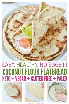 Coconut flour flatbread Keto + Vegan + eggless !! Easy healthy soft, fluffy eggfree breads with only 6 ingredients. #ketorecipes # keto #lowcarb #glutenfree #cleaneating