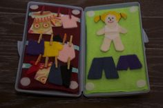 Quiet bag/box with PDF pattern  Blonde felt dress up doll in wipes case