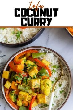 This simple and delicious tofu coconut curry is filing, comforting, and perfect for easy weeknight vegan dinners! So good on it's own or served with rice! Tofu Recipes, Curry Recipes, Vegetarian Recipes, Cooking Recipes, Tofu Curry, Vegan Dinners, Filing, My Favorite Food, Vegetarian Food