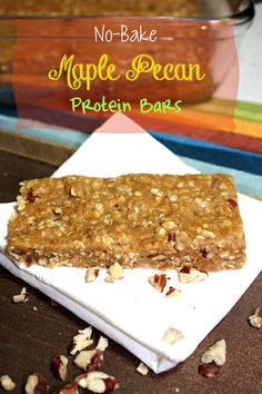 No-Bake Maple Pecan Protein Bars - Busy But Healthy Serving size: 1 bar Calories: 250 Fat: 12 g Carbs: 16 g Sugar: 4 g Sodium: 99 mg Fiber: 2 g Protein: 20 g