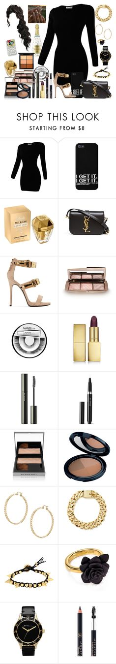 """""""When You Don't Know What Present To Give The B-Day Girl So You Bring A Bottle Of Chandon"""" by cissylion ❤ liked on Polyvore featuring Paco Rabanne, Yves Saint Laurent, Giuseppe Zanotti, Hourglass Cosmetics, Sephora Collection, AERIN, shu uemura, Burberry, Liz Earle and Kurt Geiger"""